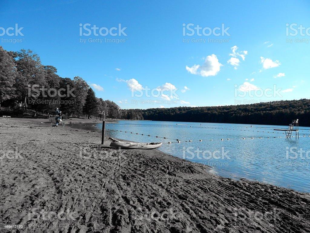 Blue Bowman Lake stock photo