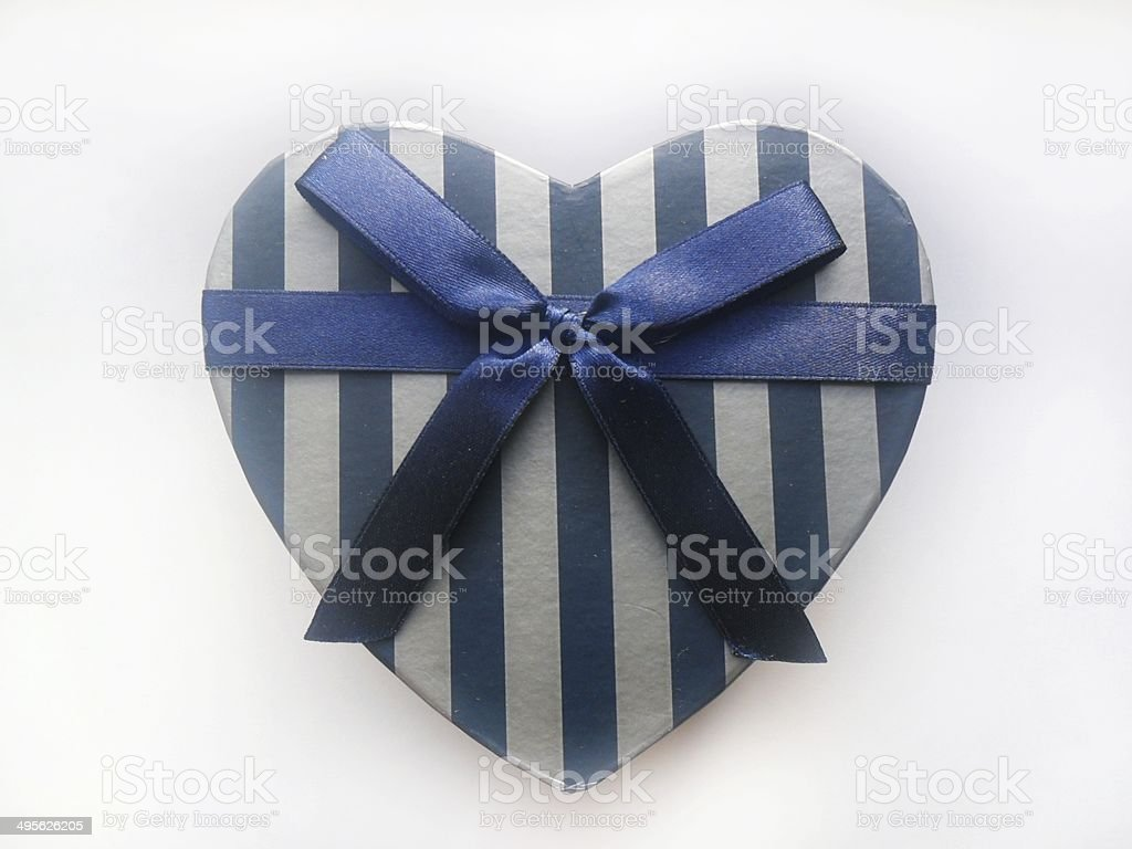 blue box heart isolated white background royalty-free stock photo