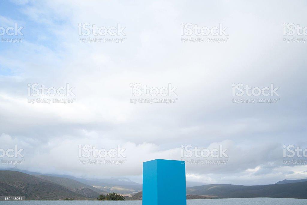 Blue box outdoors stock photo