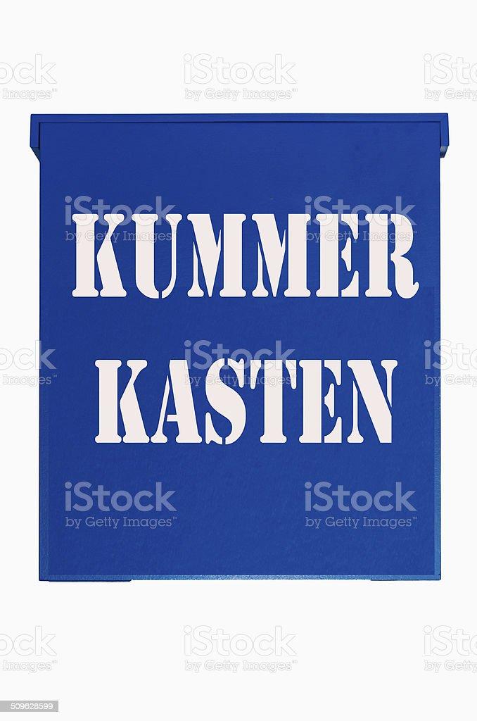 Blue box, suggestion box stock photo
