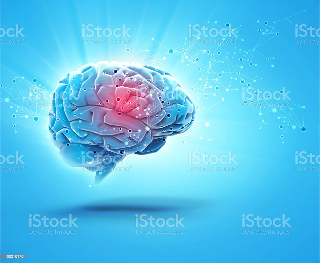 A blue brain with a glowing pink center shooting out sparks stock photo