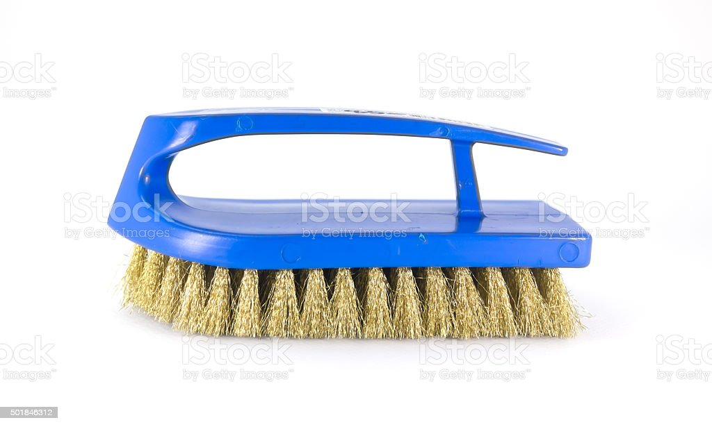 Blue brass scrub brush stock photo