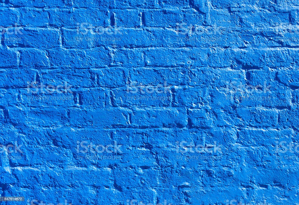 Blue brick wall stock photo