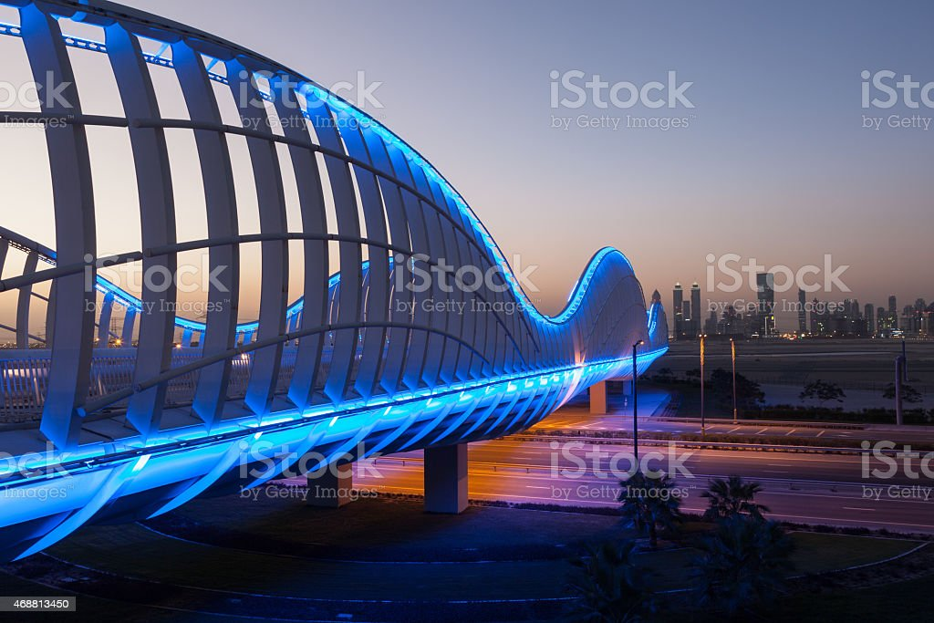 Blue bridge at night, Dubai stock photo