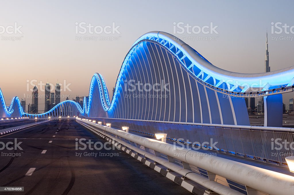 Blue Bridge in Dubai stock photo