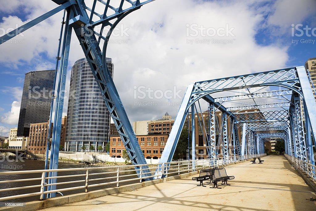 Blue bridge in Grand Rapids stock photo