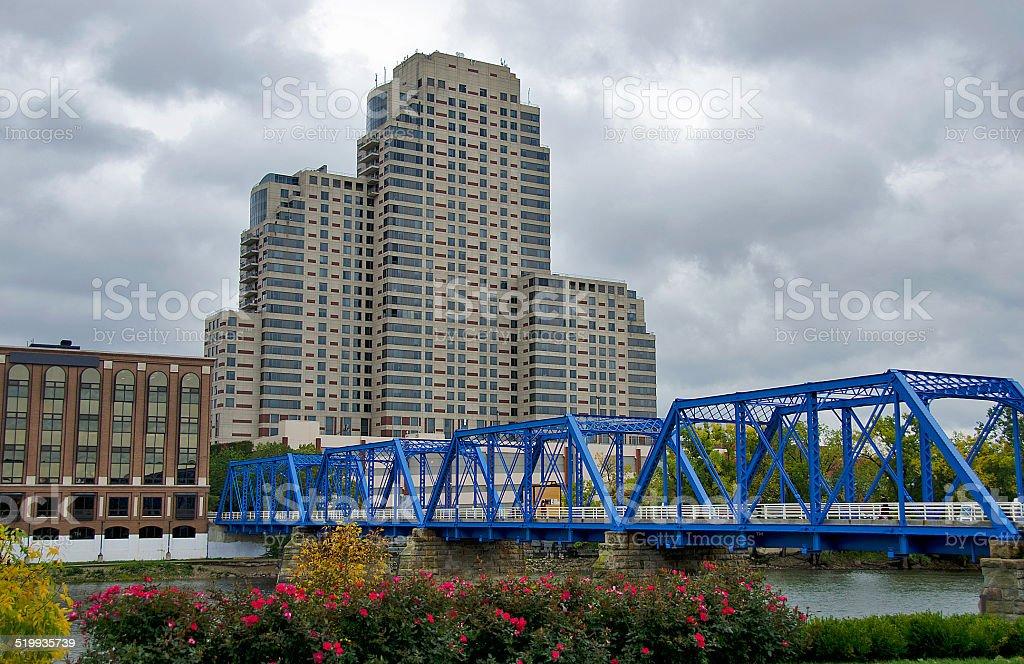 blue bridge in Michigan stock photo