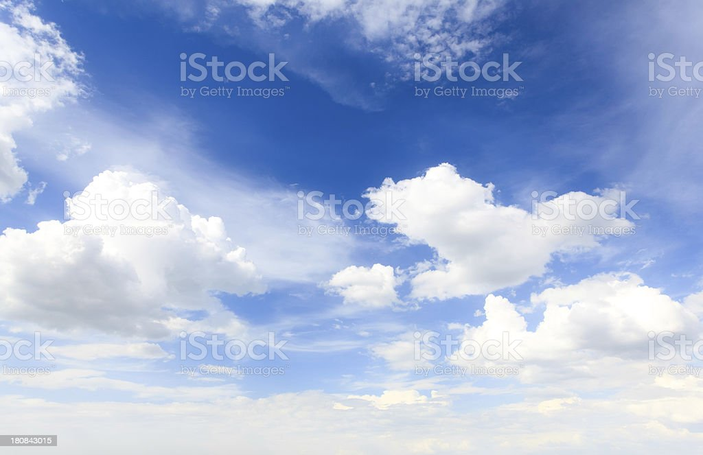 Blue bright sky with clouds stock photo