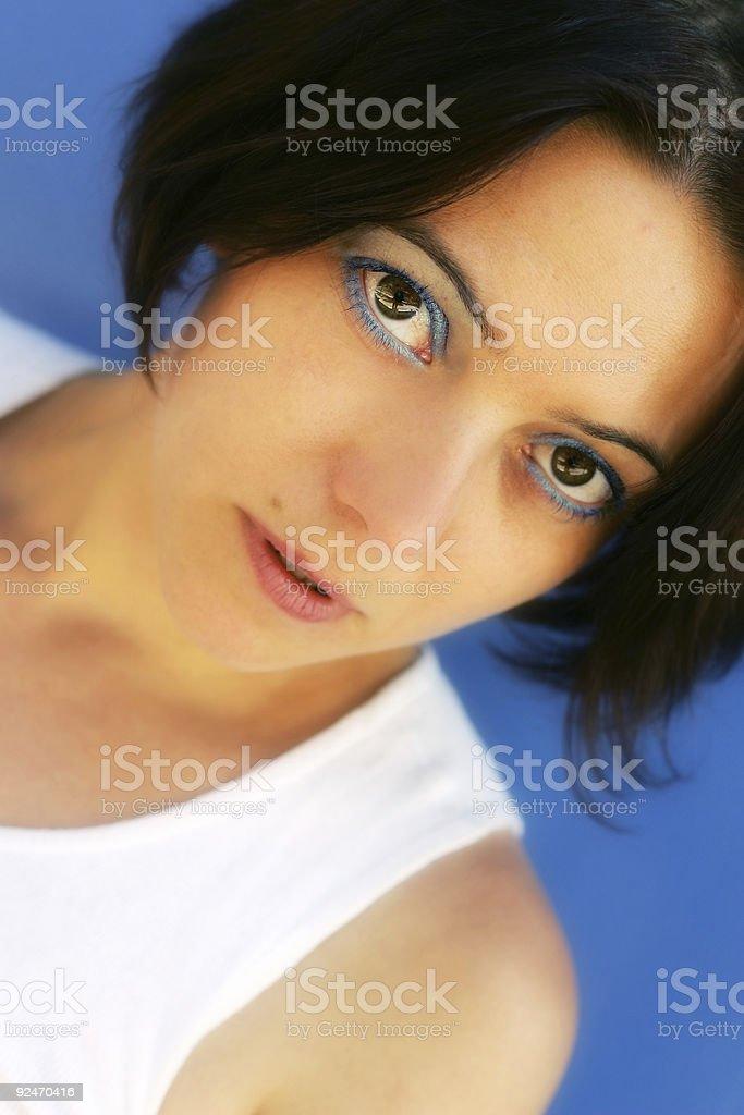 Blue Brunette stock photo