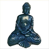 Blue Buddha isolated on white background Filter  drawing