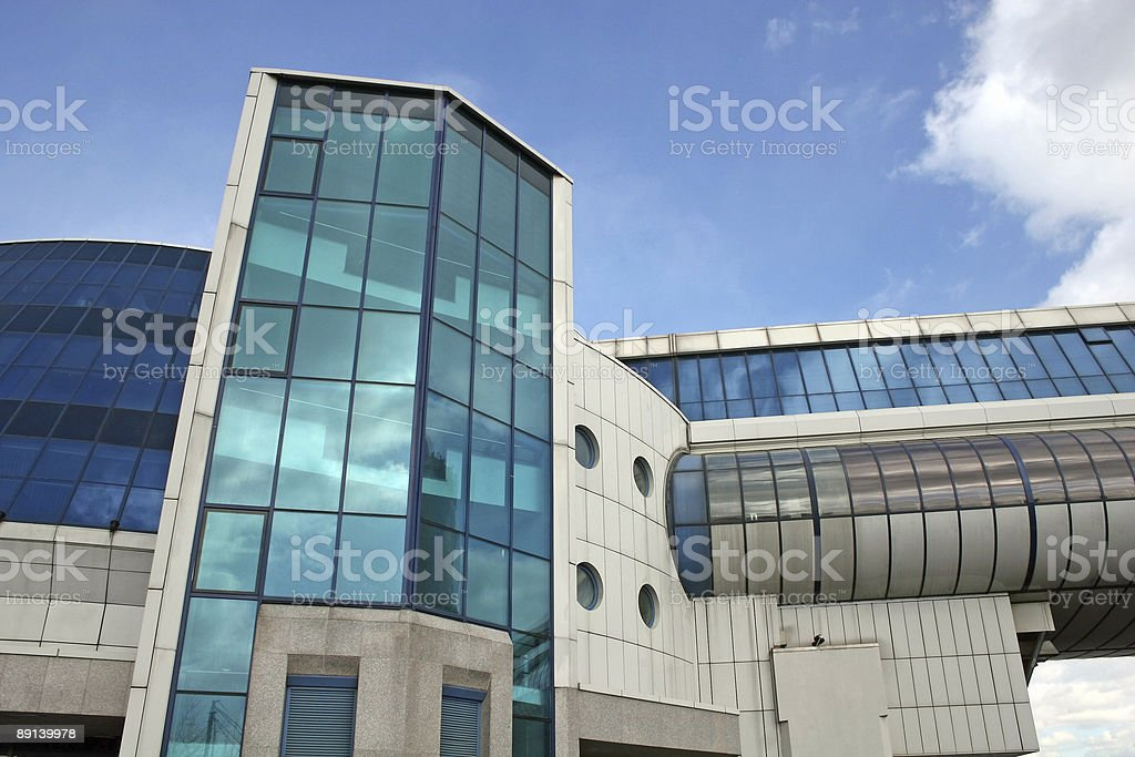 blue building and bridge royalty-free stock photo