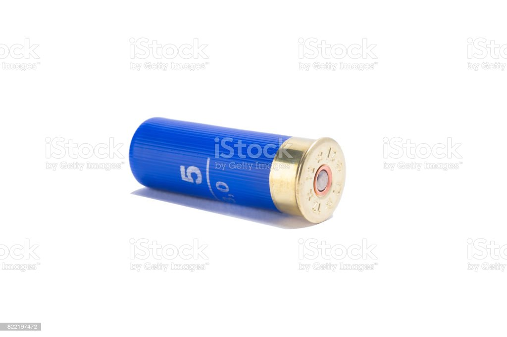Blue bullets for a pump gun, on a white background stock photo