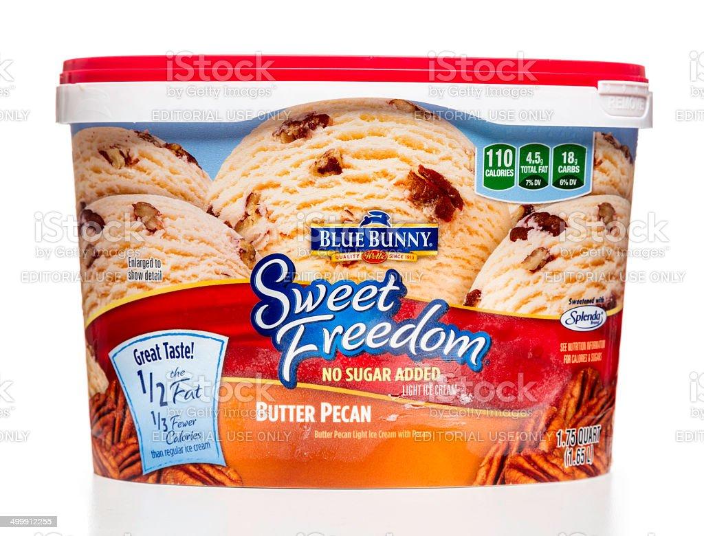 Blue Bunny Buter Pecan Sweet Freedom ice cream jar stock photo