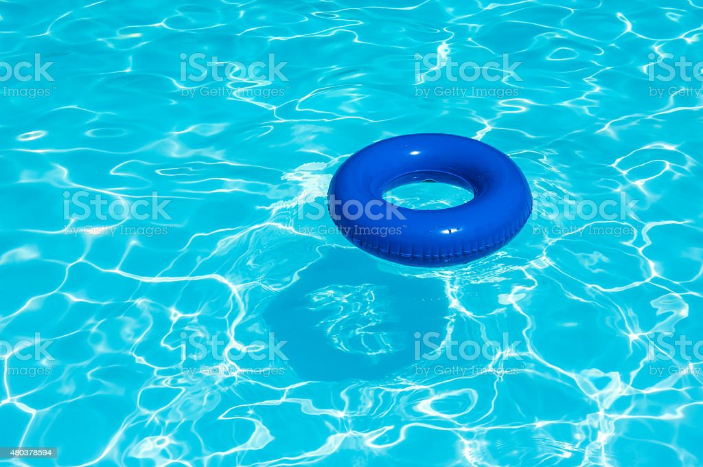Blue buoy at swimming  pool stock photo