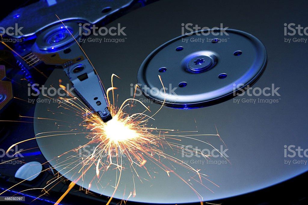 blue burning hard disk stock photo