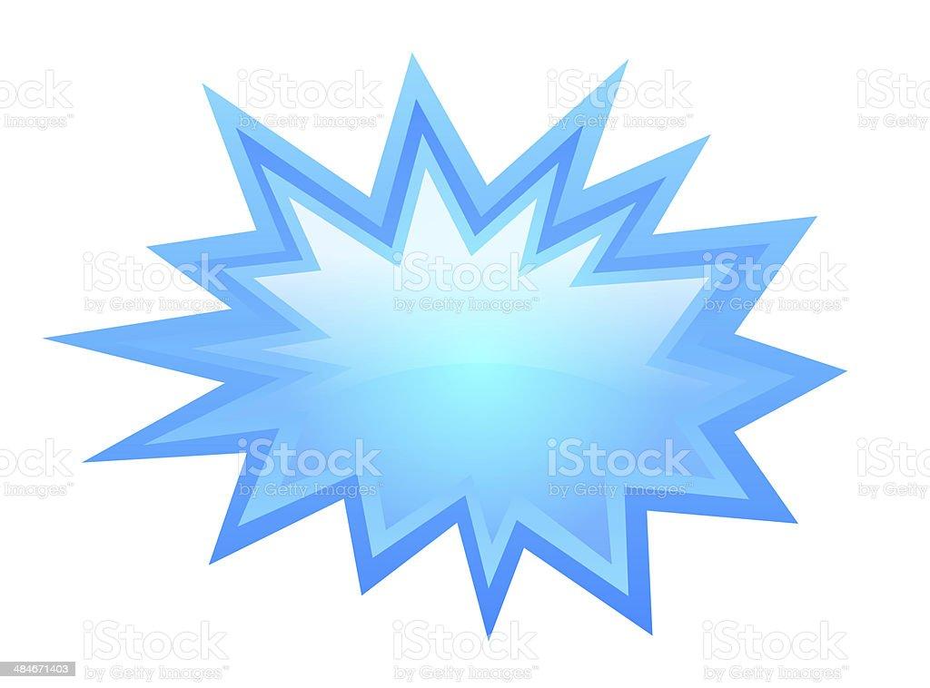 Blue bursting icon stock photo