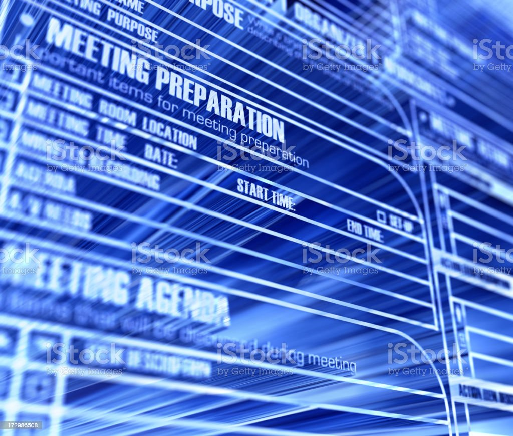 Blue business background with meeting agenda stock photo