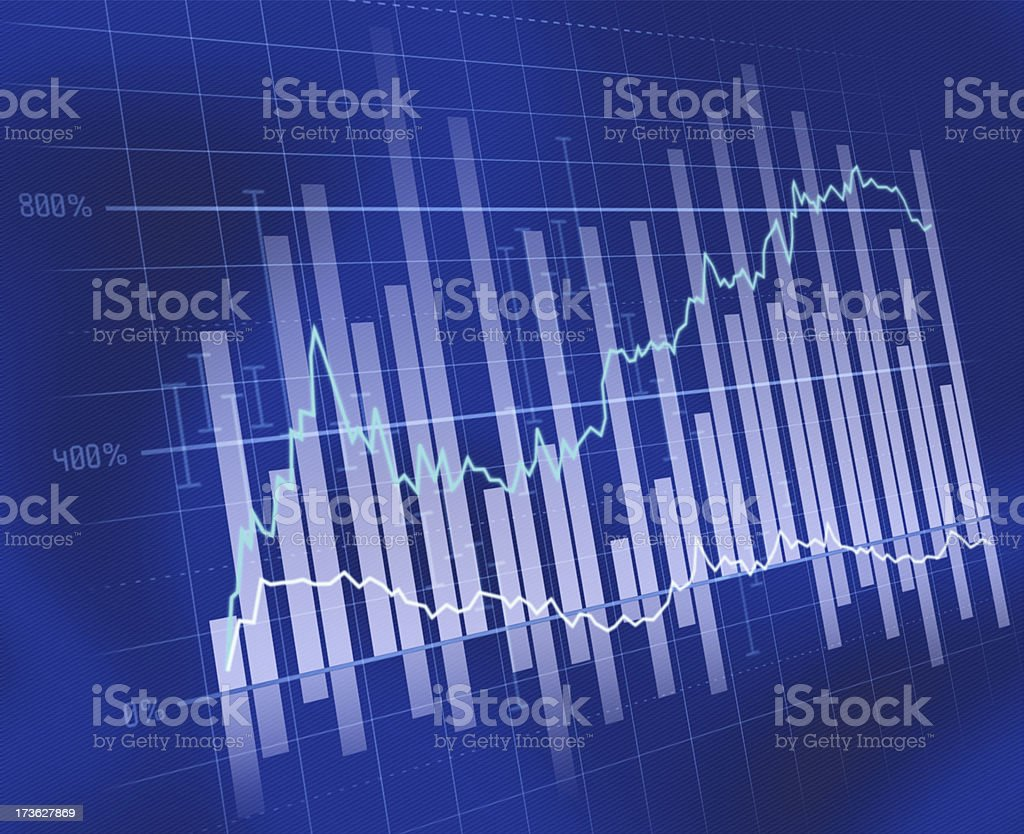 Blue business chart stock photo