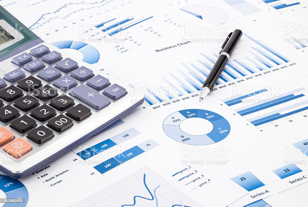 Blue business charts, graphs, information and reports stock photo