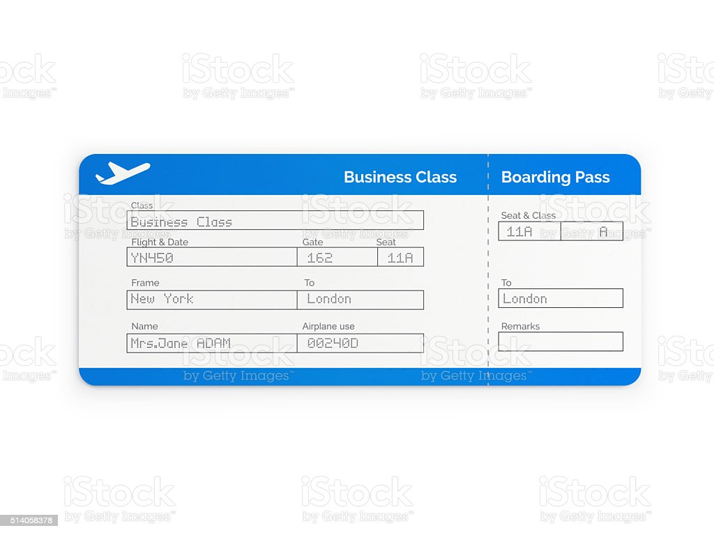 Blue Business Class  Airline Ticket stock photo