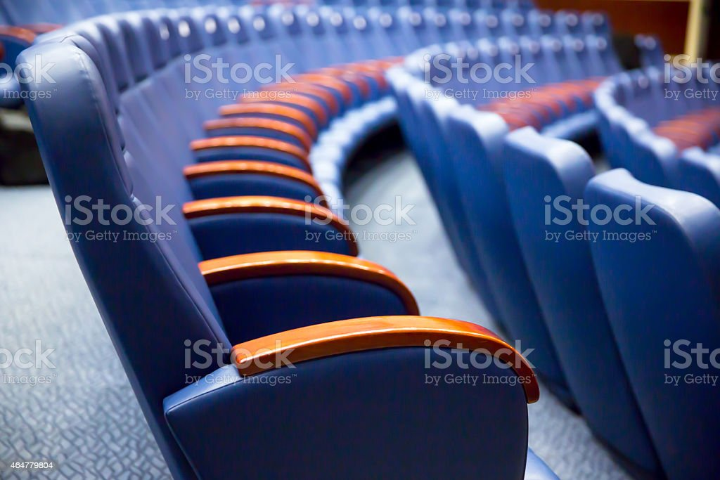 Blue Business conference seats stock photo