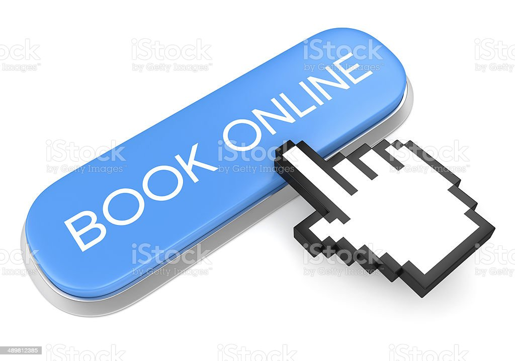 Blue button Book Online and hand cursor stock photo