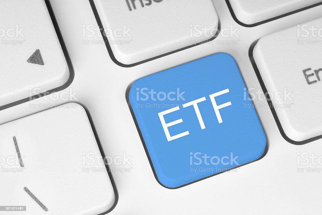 ETF (Exchange Traded Fund) blue button stock photo
