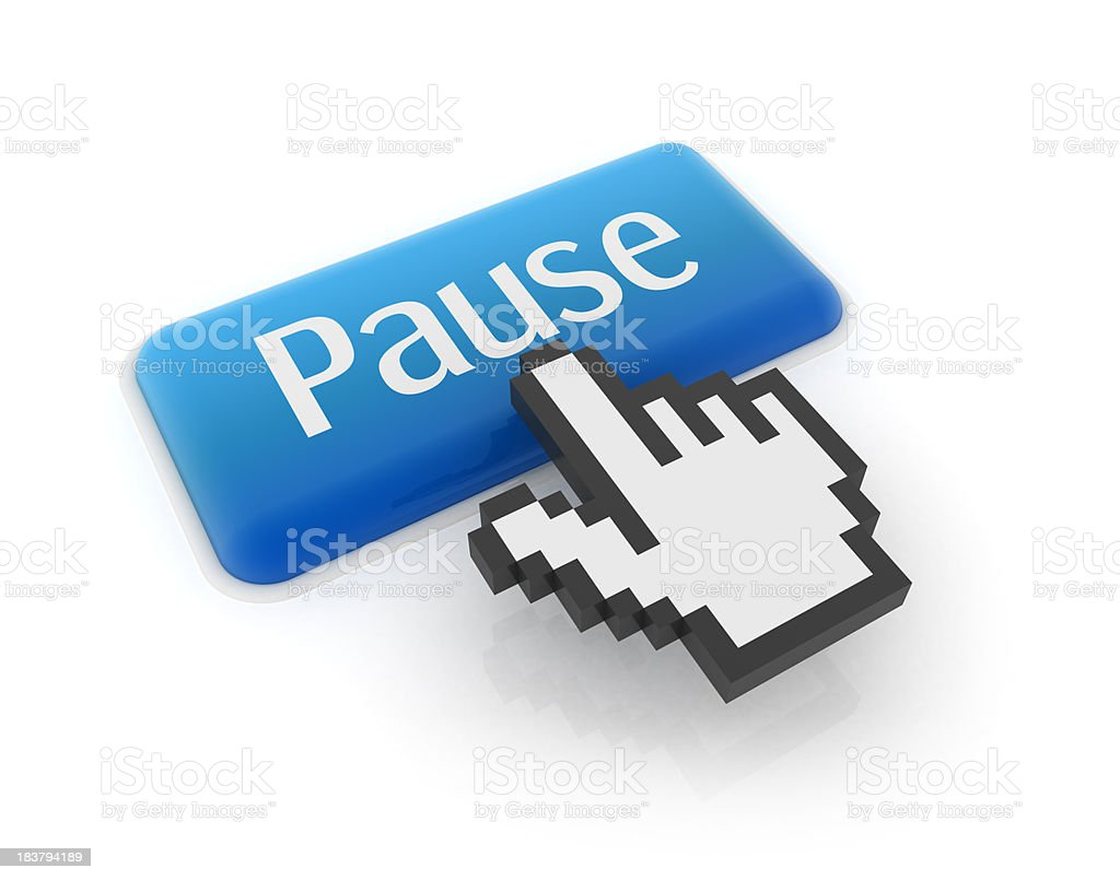 A blue button saying Pause being pressed by hand cursor stock photo
