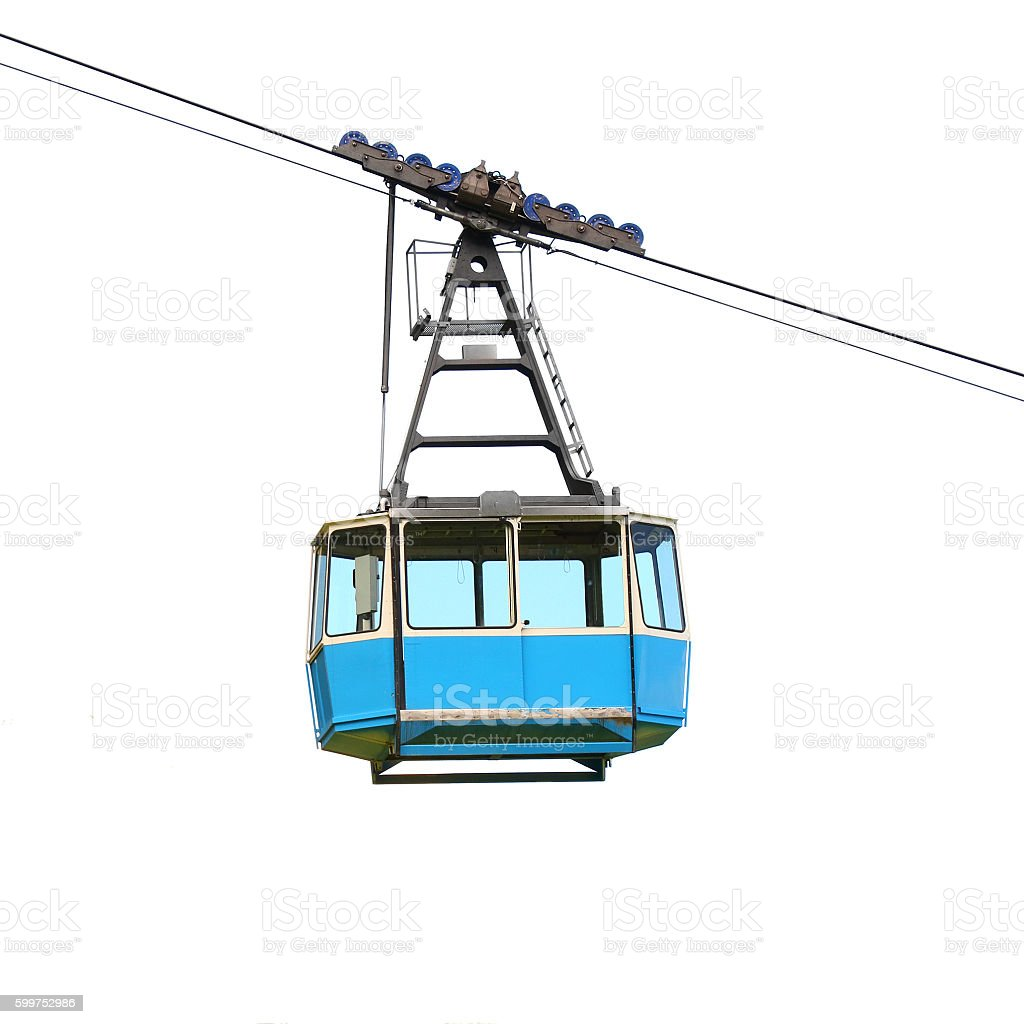 Blue cable car. stock photo