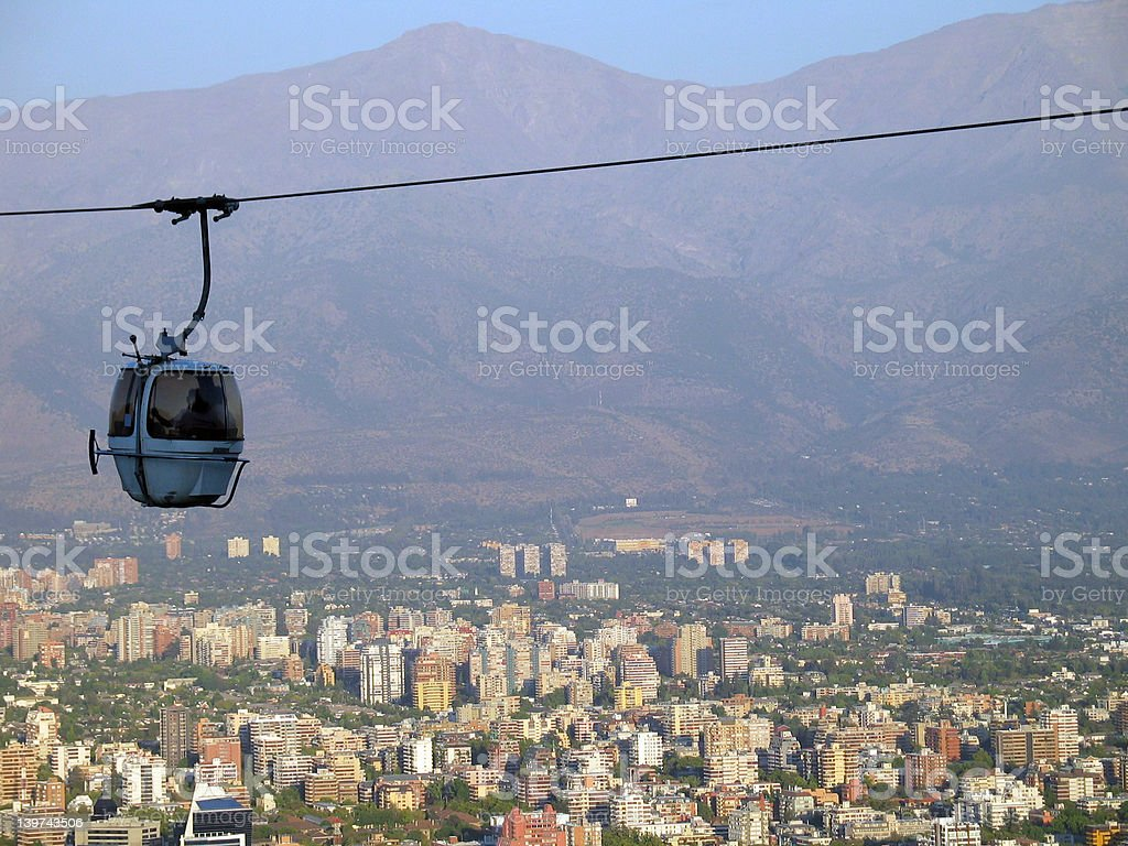 Blue Cable Lift over Santiago de Chile royalty-free stock photo