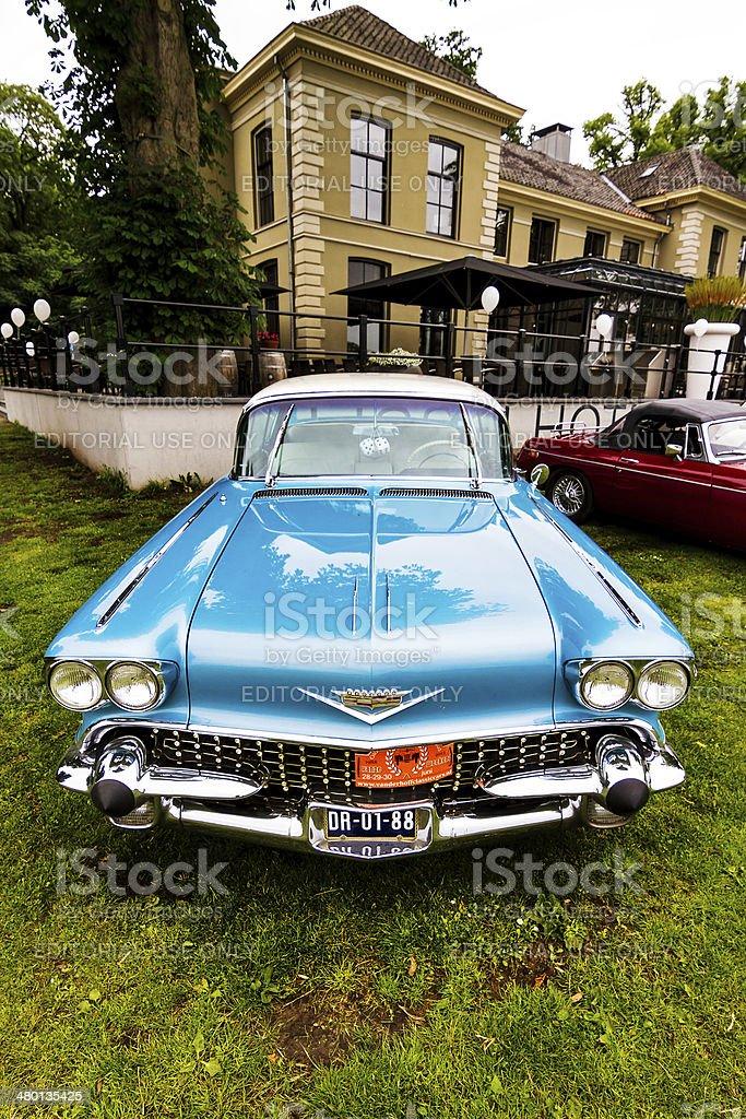 Blue Cadillac stock photo