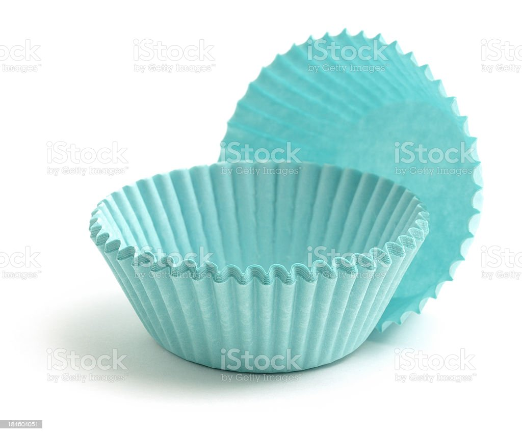 Blue cake cases stock photo