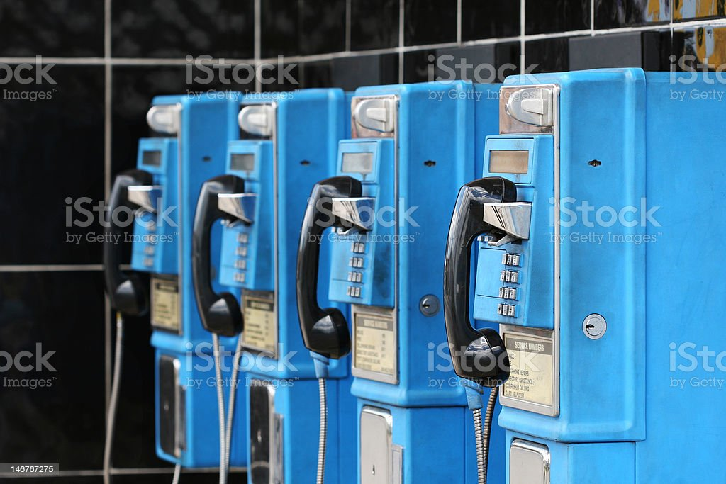 blue calls pay phones royalty-free stock photo