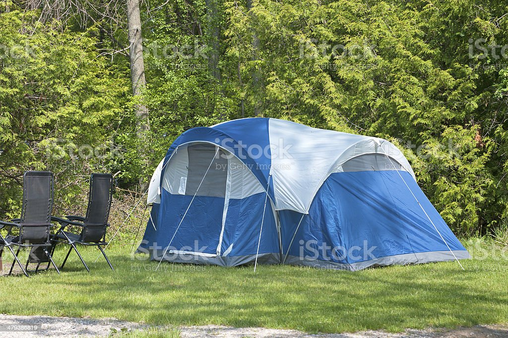Blue Camping Tent royalty-free stock photo