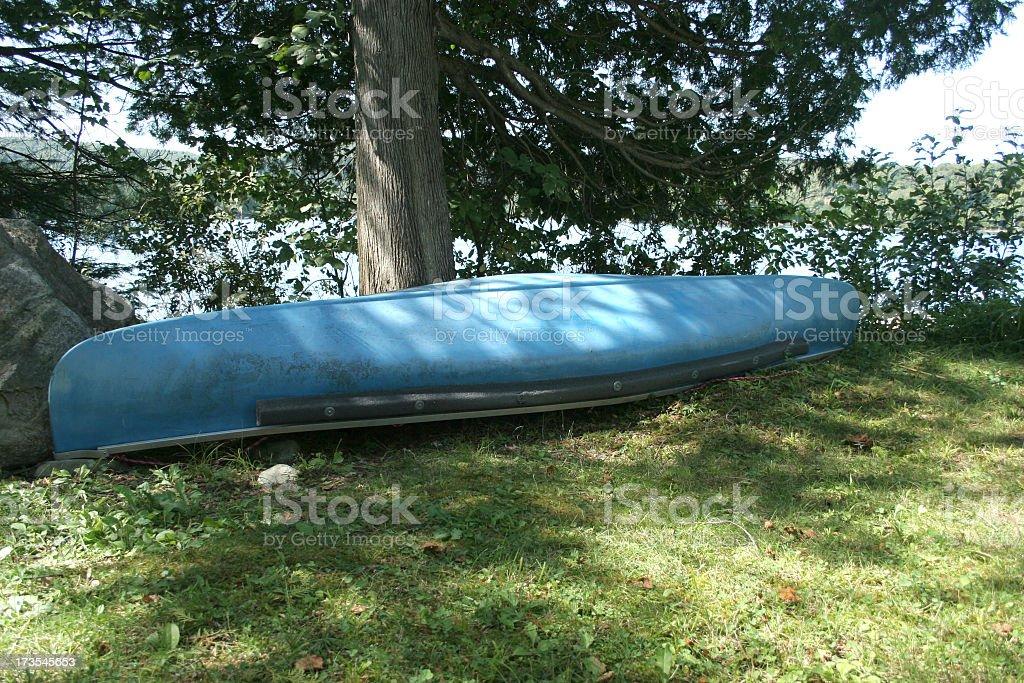 Blue canoe royalty-free stock photo