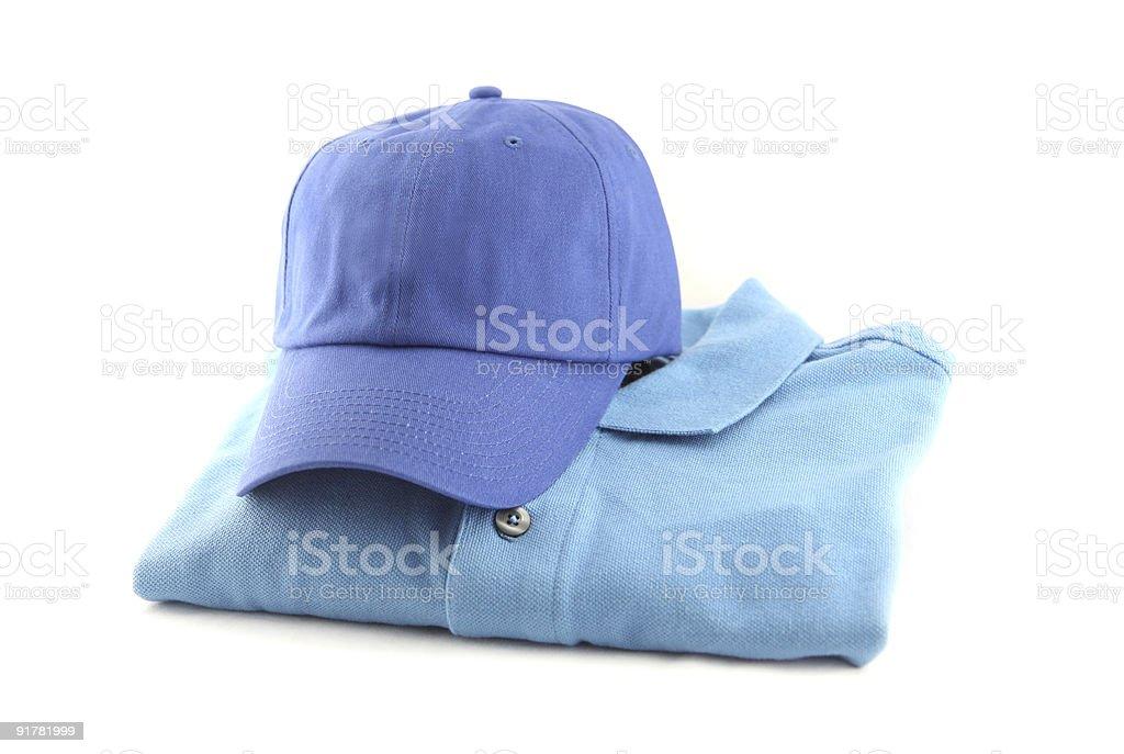 blue cap and shirt stock photo