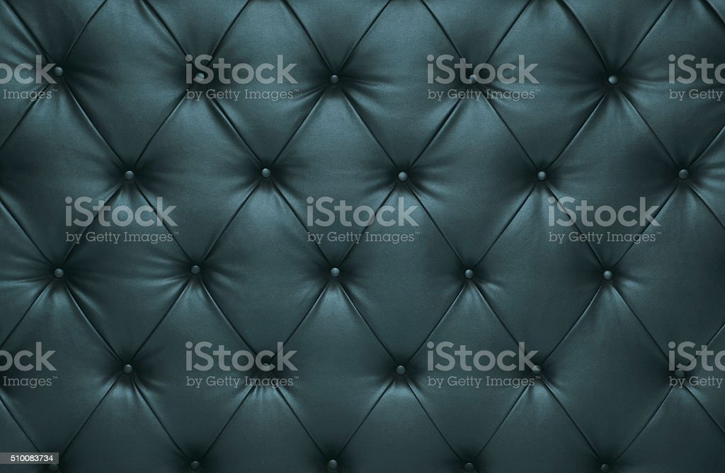 Blue capitone checkered coach leather decoration stock photo