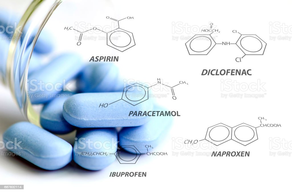 Blue caplets and some analgesic chemical structure on white background. stock photo