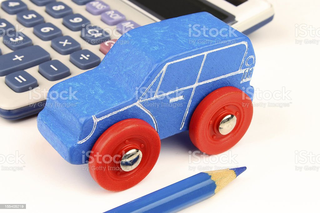 Blue Car & Calculator royalty-free stock photo