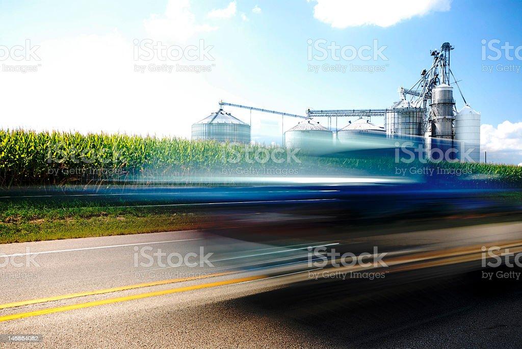 Blue Car & Corn Energy stock photo