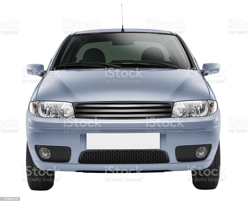 Blue car front-side (isolated with clipping path over white background) stock photo