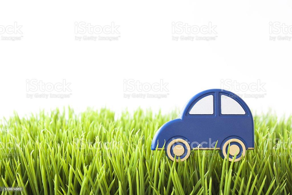 Blue car on grass stock photo