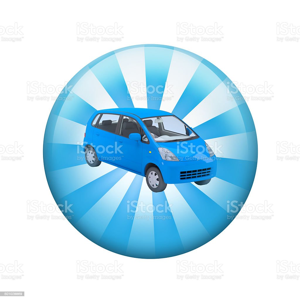 Blue car. Spherical glossy button stock photo