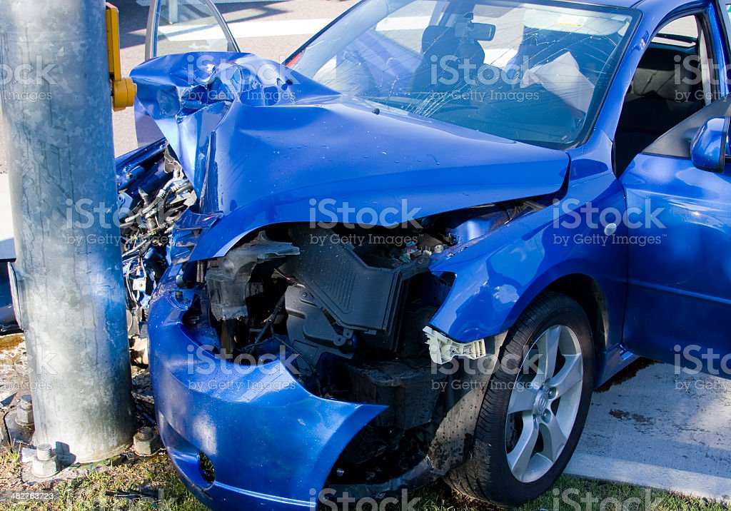 Blue Car Versus Pole Accident stock photo