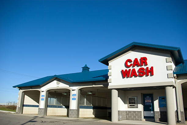 blue car wash stock photo