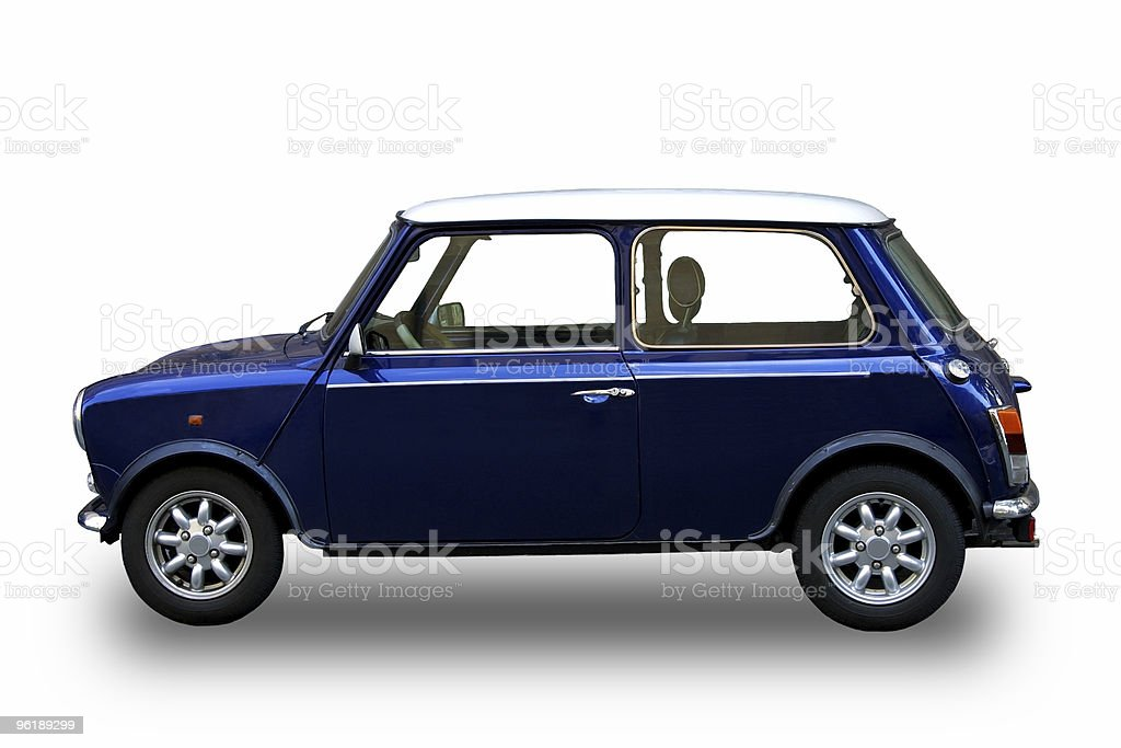 Blue car with clipping path stock photo