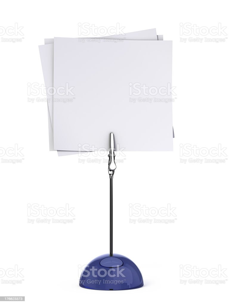 A blue card holder holding blank white cards stock photo