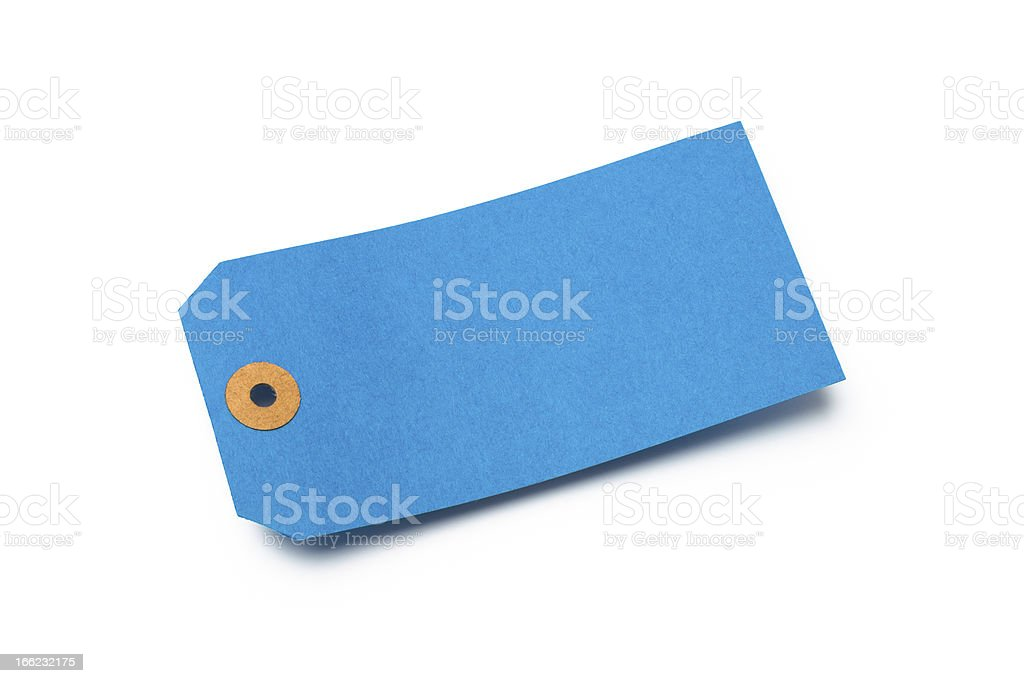 Blue cardboard or paper luggage tag isolated on white royalty-free stock photo