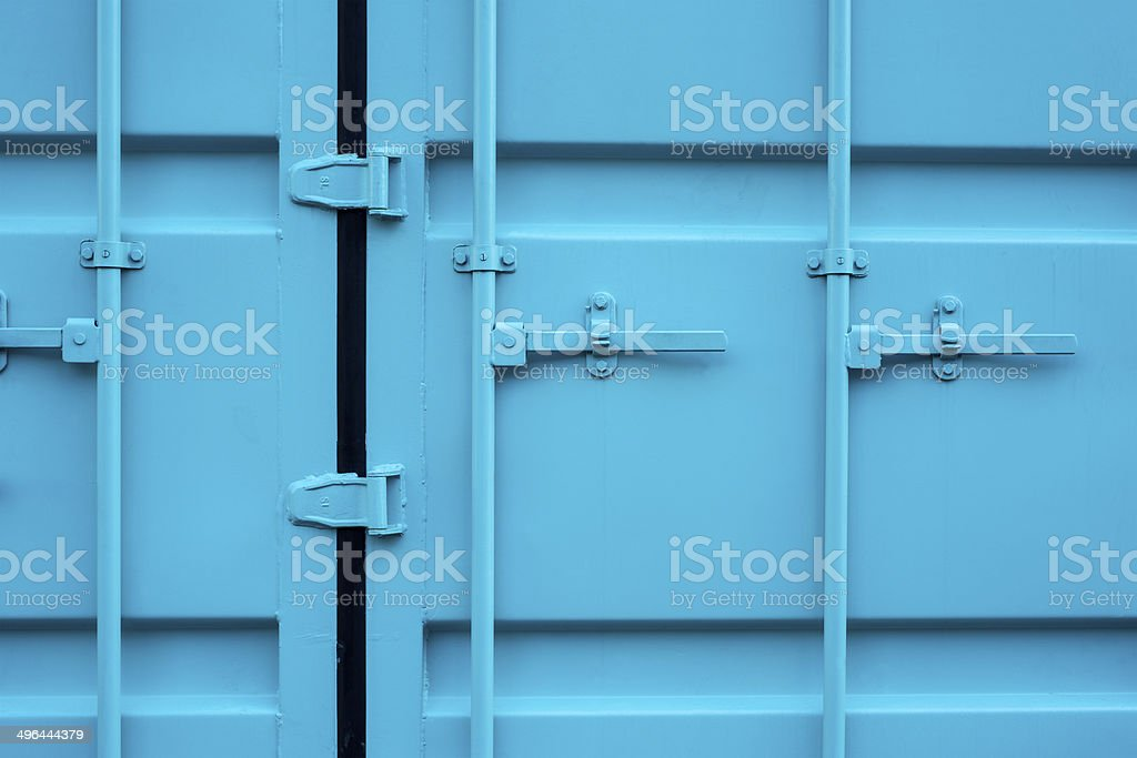 Blue cargo container stock photo