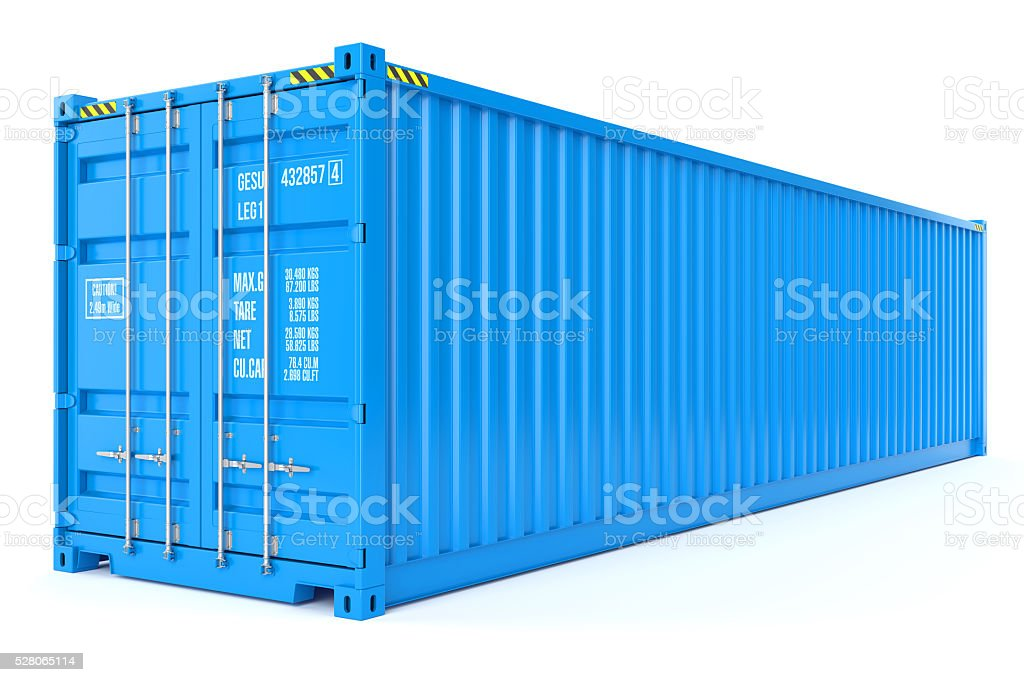 Blue cargo container stock photo